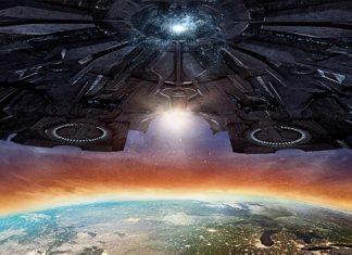 Poster do filme com uma nave enorme em cima da terra