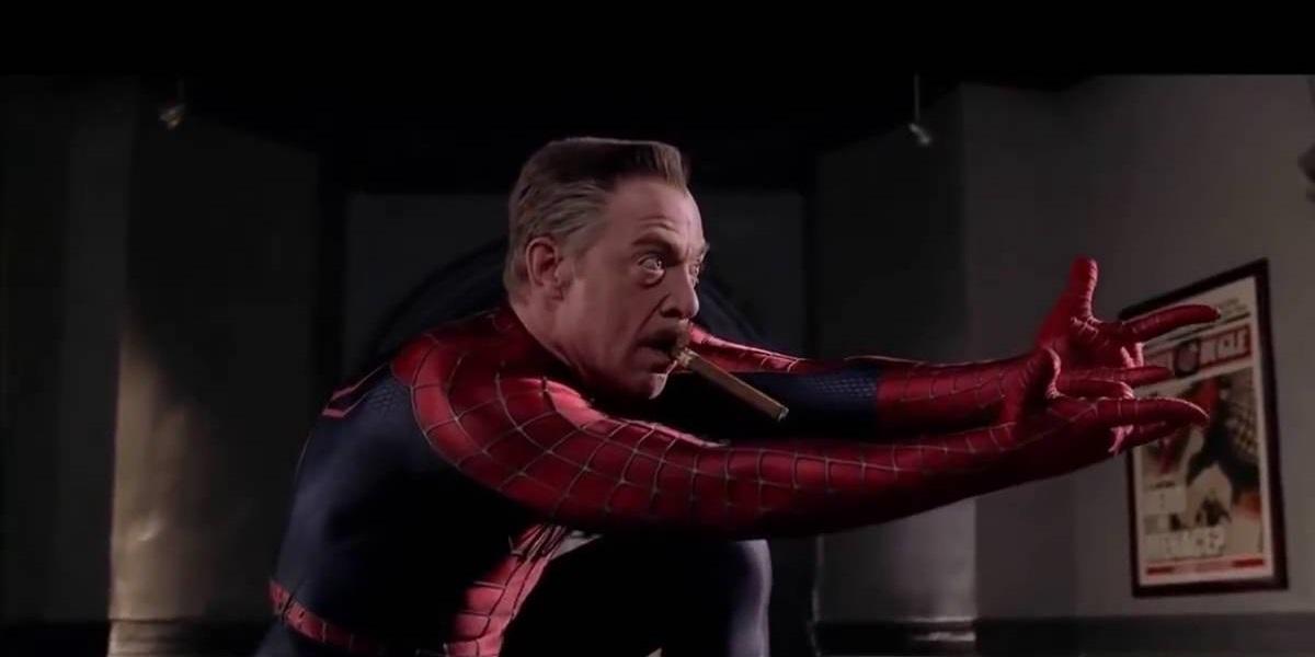 montagem de j. j. jameson vestido com o uniforme do homem-aranha