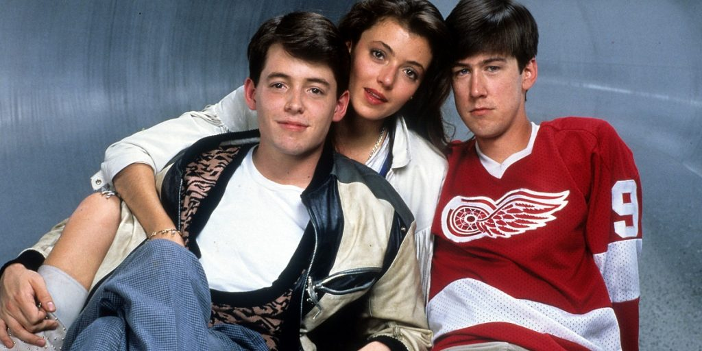 Matthew Broderick And Alan Ruck In 'Ferris Bueller's Day Off' curtindo a vida adoidado