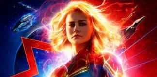 Brie Larson como Capitã Marvel em poster do filme