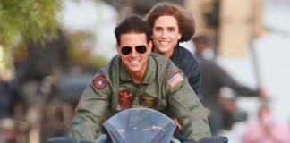 Jennifer Connelly e Tom Cruise de moto em cena de Top Gun