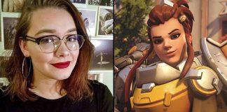 montagem com a dubladora Matilda Smedius e a personagem Brigitte de Overwatch