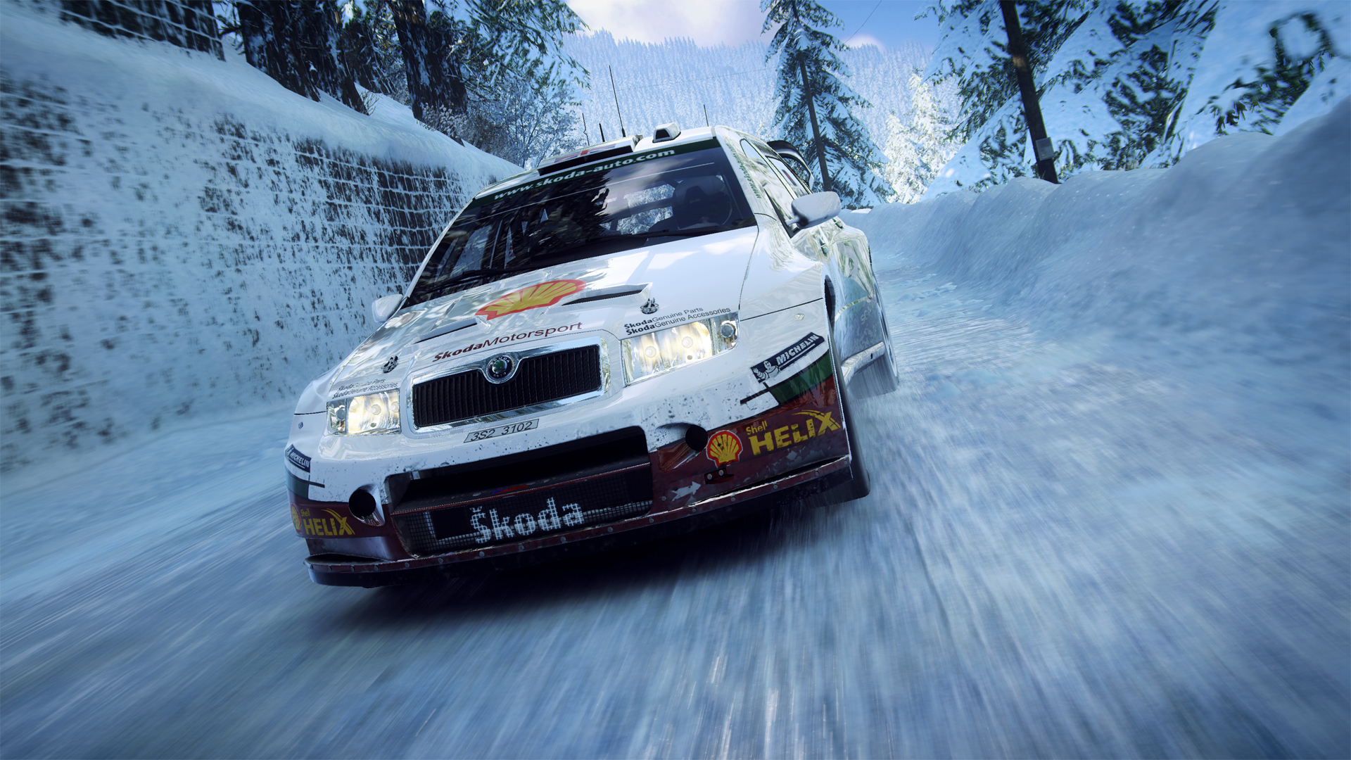 cena de dirt rally 2.0 com carro na neve