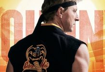 Johnny Lawrence em poster de cobra kai, spin off de karatê kid