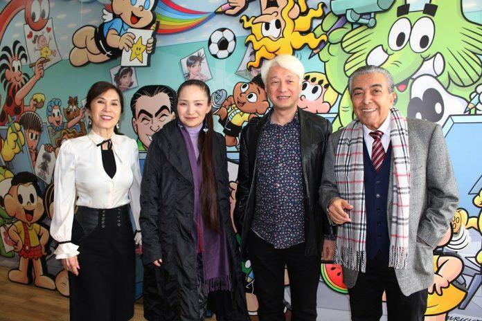 na imagem: Alice-Takeda-Reiko-Okano-Makoto-Tezuka-e-Mauricio-de-Sousa