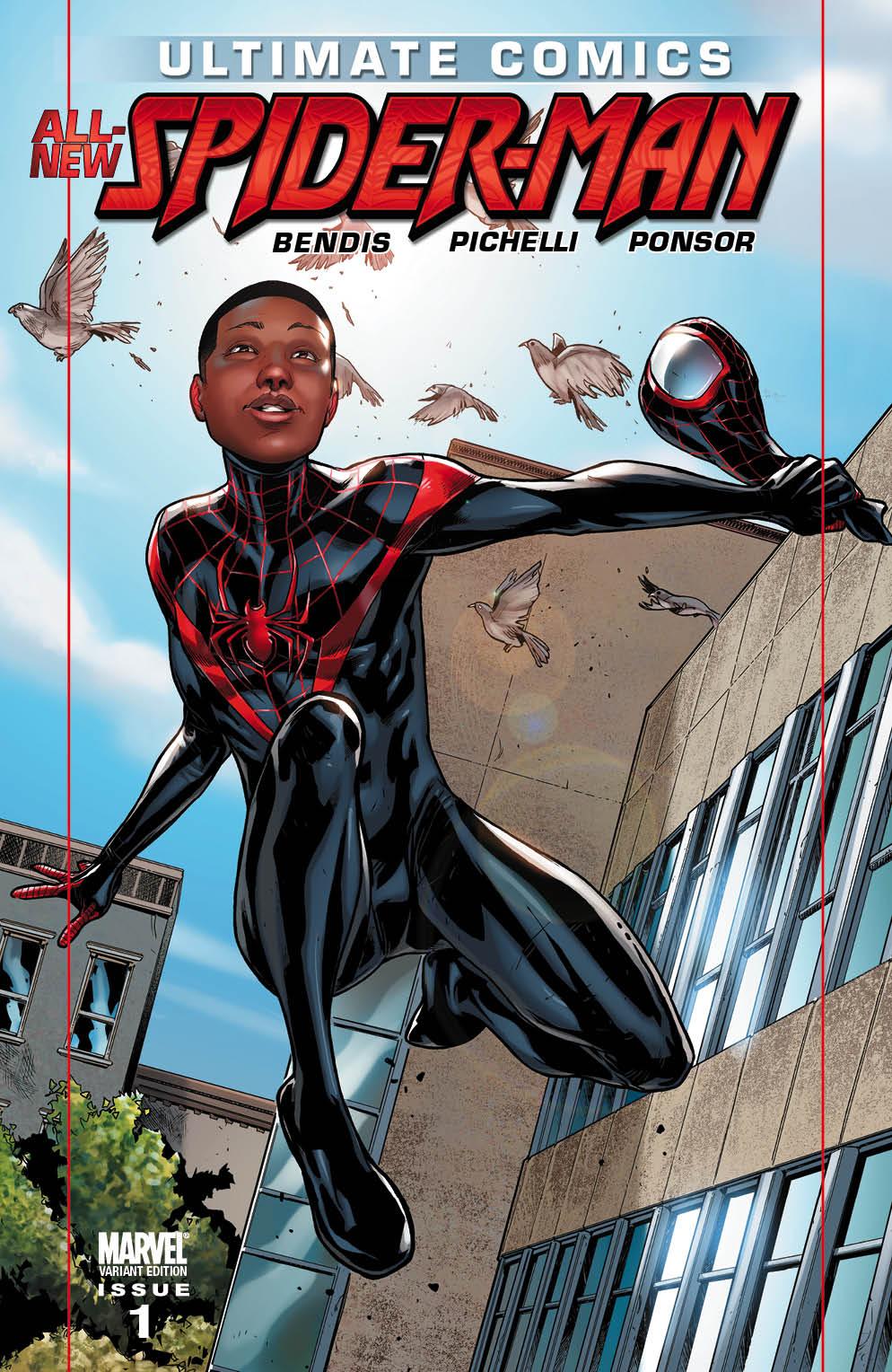 Capa variante do Homem-Aranha Miles Morales, personagem que Sara Pichelli foi cocriadora