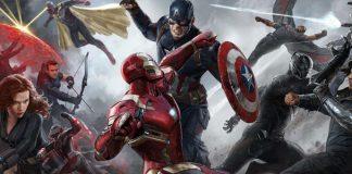 Pintura Promocional de Guerra Civil com todos os heróis se enfrentando