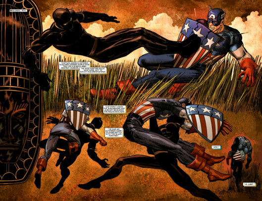 cena da HQ onde o Capitão América é derrotado pelo Pantera Negra durante a 2ª Guerra Mundial
