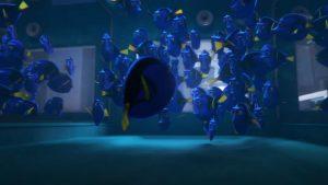 cena de procurando dory, onde a protagonista encontra seus semelhantes