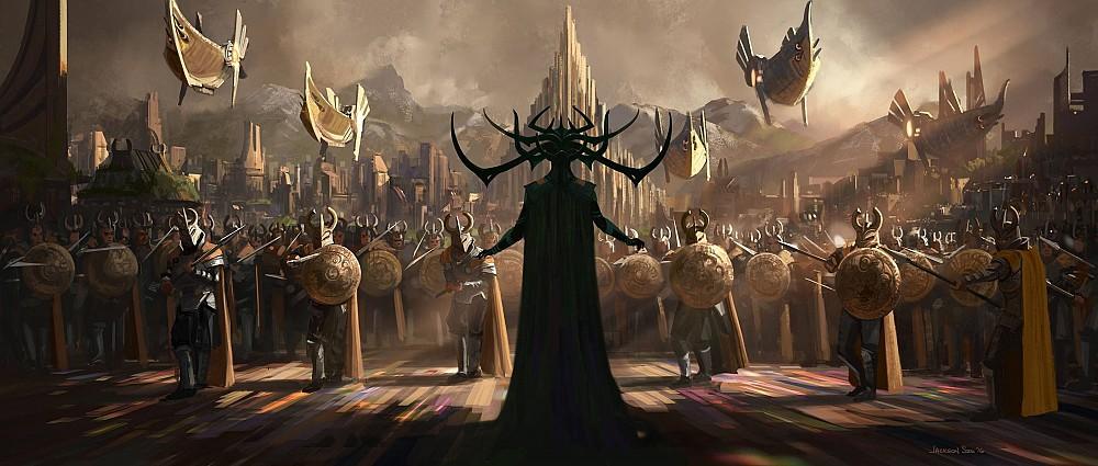 Hela em arte conceitual de Thor - Ragnarok