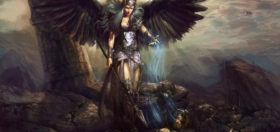 Valquíria recolhendo a alma dos guerreiros mortes em batalha