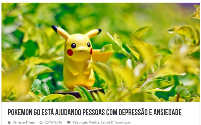 Materia de jornal falando que pokemon go está ajudandi pessoas com depressão e ansiedade