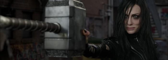 Hela destruindo Mjölnir em Thor: Ragnarok