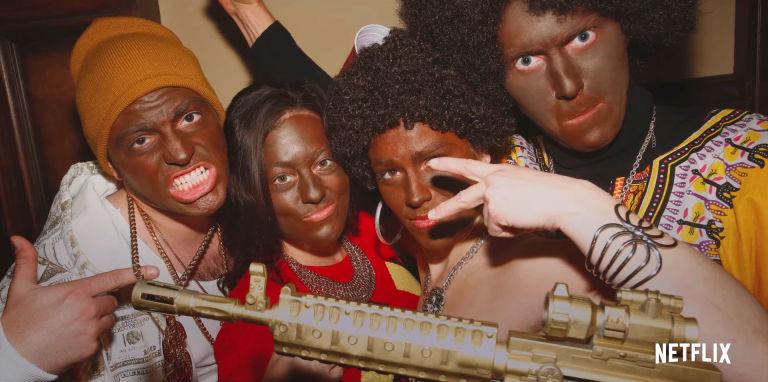 brancos com rosto pintado para parecerem com negros na série Cara Gente Branca