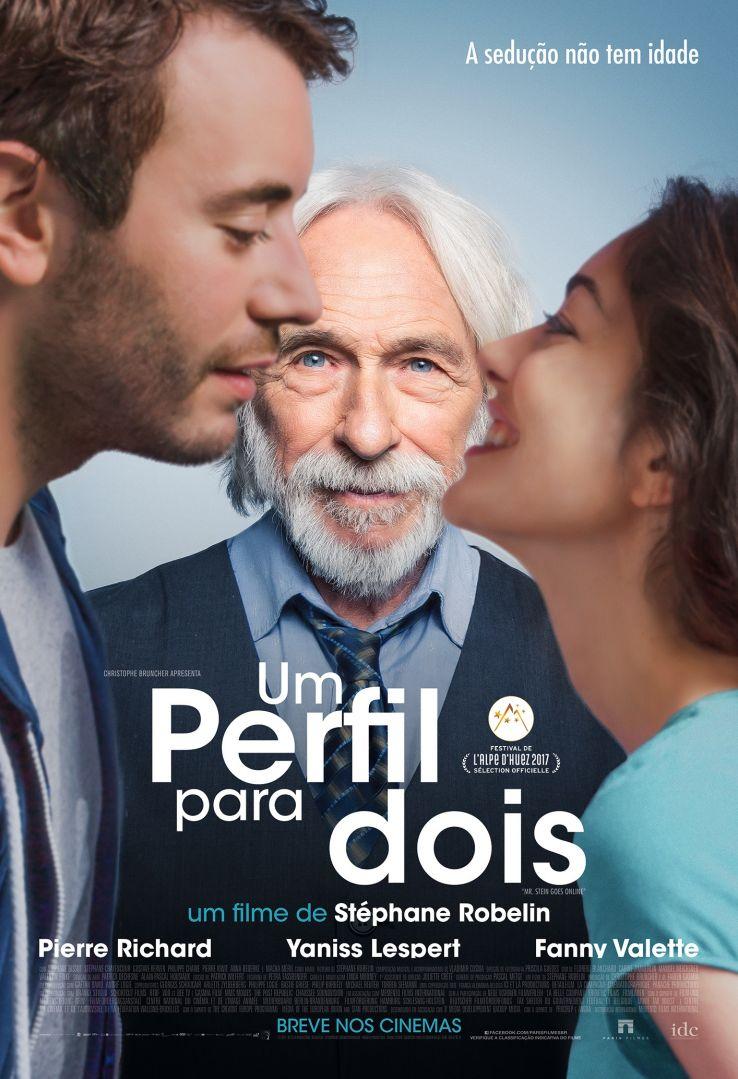 poster de um perfil para dois, com o protagonista entre um casal