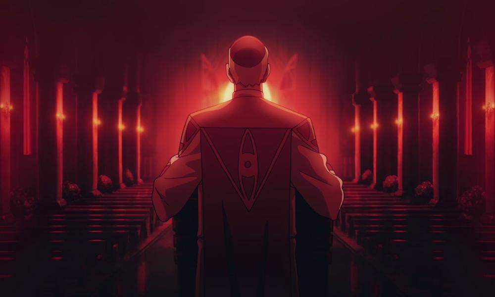 O bispo aguardando na igreja