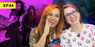 lyla e rebeca na capa do video sobre outlander