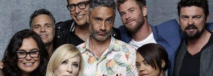elenco de Thor: Ragnarok em ensaio