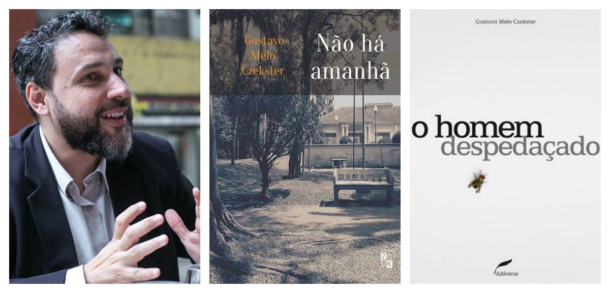 Imagem de Gustavo Czekster e as capas de seus livros