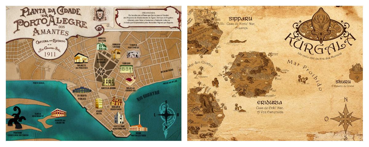 desenhos dos mapas de Brasiliana Steampunk e O Espadachim de Carvão