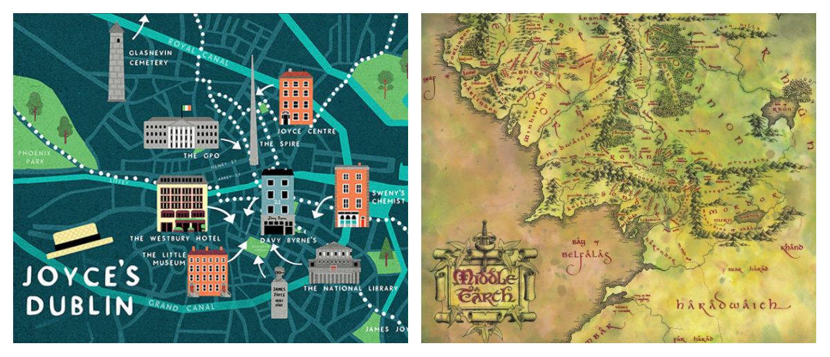 Desenho dos mapas de Ulysses e O Senhor dos Anéis
