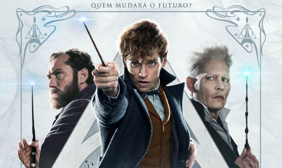 trio protagonista em poster de Animais Fantásticos