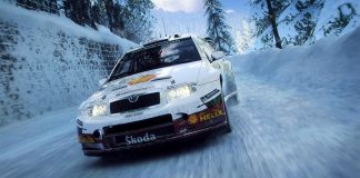 cena de dirt rally 2.0 com carro na neve