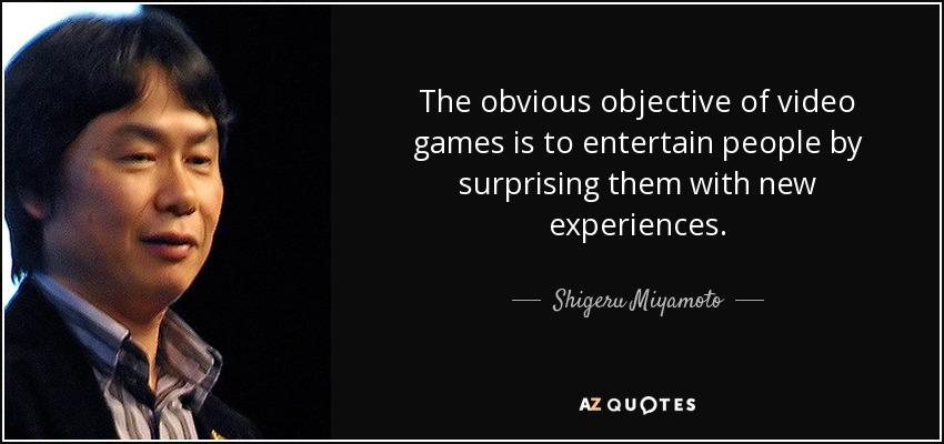 o oketivo dos jogos é entreter as pessoas com experiências surpreendentes