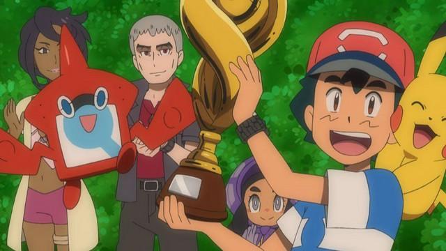 Pokémon Sun e Moon, Ash com troféu