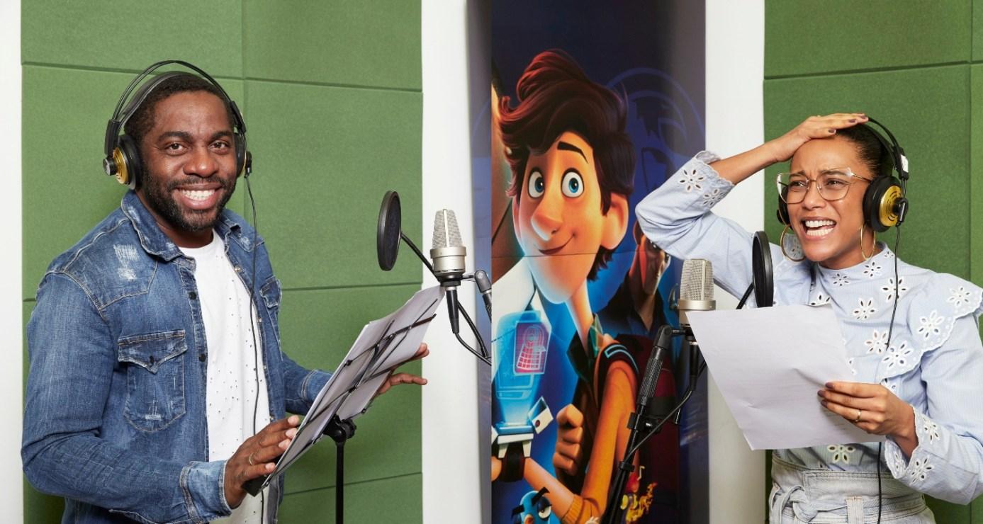 Taís Araujo e Lázaro Ramos no estúdio de dublagem